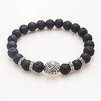 Sterling silver lava stone beaded bracelet, 'Three Together' - Balinese Unity Bracelet of Black Lava Stone with Silver 925