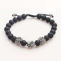 Sterling silver lava stone unity bracelet, 'Helping Hands Together'