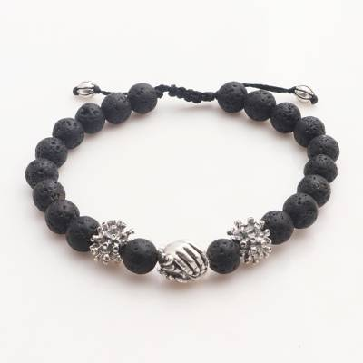 Sterling silver lava stone unity bracelet, 'Helping Hands Together' - Balinese Sterling Silver Black Lava Stone Unity Bracelet