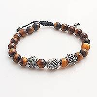 Tiger's eye unity bracelet, 'Helping Hands Together' - Balinese Tiger's Eye Sterling Silver Unity Bracelet