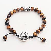 Tiger's eye unity bracelet, 'Unity in Solidarity' - Tiger's Eye and Sterling Silver Unity Bracelet from Bali