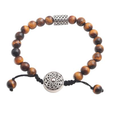Tiger's eye unity bracelet, 'Unity in Solidarity' - Tiger's Eye and Sterling Silver Unity Bracelet from Bali
