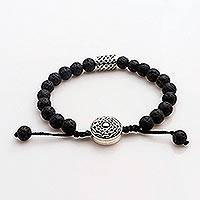 Lava stone and sterling silver unity bracelet, 'Unity in Solidarity'