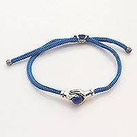 Sterling silver and blue agate unity bracelet, 'Blue Silver Handshake' - Bali Blue Agate and Sterling Silver Cord Unity Bracelet