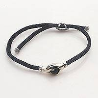 Sterling Silver and obsidian unity bracelet, United
