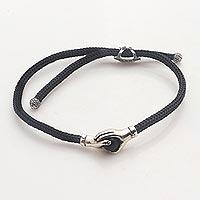 Sterling Silver and obsidian unity bracelet, 'Silver Handshake' - Bali Obsidian and Sterling Silver Cord Unity Bracelet