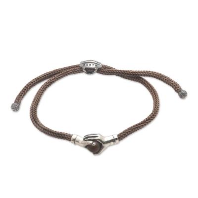 Sterling silver and tiger's eye unity bracelet, 'Silver Handshake' - Bali Tiger's Eye and Sterling Silver Cord Unity Bracelet