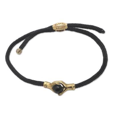 Bali Brass and Black Agate Cord Unity Bracelet