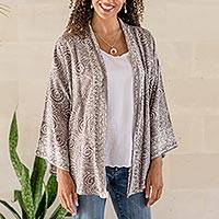 Rayon batik jacket, 'Galaxy' - Hand Stamped Rayon Batik Jacket