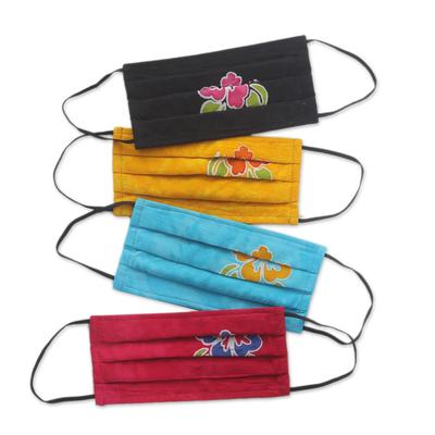 Rayon batik face masks, 'Island Hibiscus' (set of 4) - 4 Handmade Hibiscus Batik 2-Layer Face Masks from Bali
