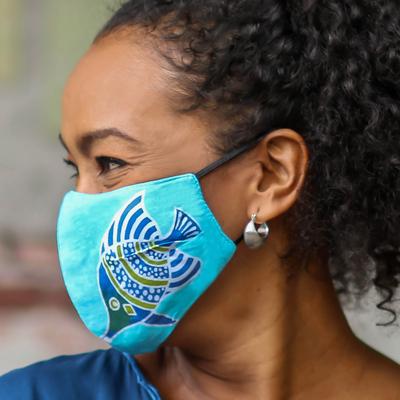 Rayon batik face masks, 'Balinese Fish' (set of 3) - 3 Handmade Rayon Batik Fish Cotton 2-Layer Face Masks