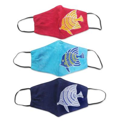 Rayon batik face masks, 'Balinese Fish' (set of 3) - 3 Handmade Rayon Batik Fish Cotton 2-Layer Face Masks