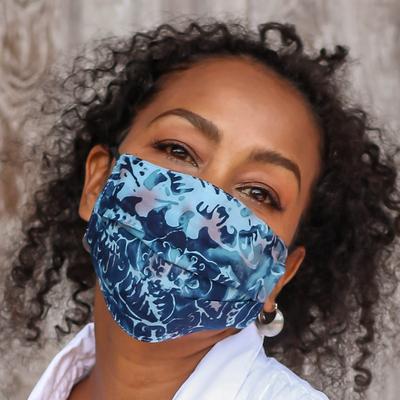 Rayon batik face masks, 'Tropical Beauty' (set of 4) - 4 Handmade Abstract Rayon Batik Pleated 2-Layer Face Masks