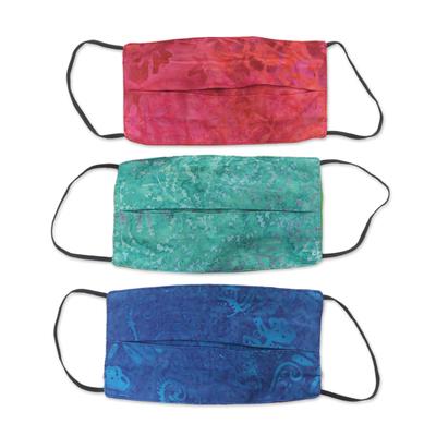 Rayon batik face masks, 'Colorful Tropics' (set of 3) - 3 Handmade Blue-Pink-Red Rayon Batik Pleated Face Masks