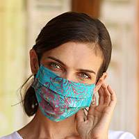 Rayon batik face masks, 'Tropical Mystique' (set of 4) - Set of 4 Batik Face Masks in Blue, Turquoise, Beige & Green