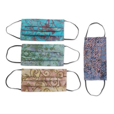 Rayon batik face masks, 'Tropical Mystique' (set of 4) - Set of 4 Batik Face Masks in Blue, Turquoise, Beige & Green