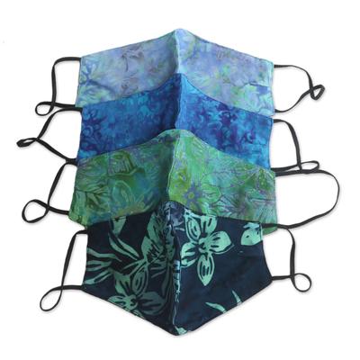 Rayon batik face masks, 'Island Blossoms' (set of 4) - 4 Handmade Floral Batik 2-Layer Face Masks from Bali
