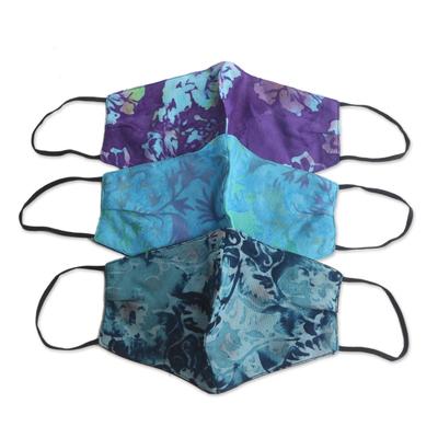 Rayon batik face masks, 'Summer Blossoms' (set of 3) - 3 Handmade Floral Batik 2-Layer Face Masks from Bali