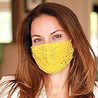 Beaded rayon brocade face masks, 'Island Glamour' (set of 3) - 3 Beaded Lace Contoured 2-Layer Rayon Face Masks
