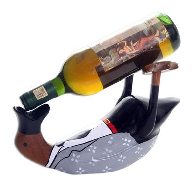 Charming and Dapper Duck Wood Bottle Holder