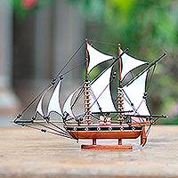 Wood sculpture, 'Kapal Phinisi' - Reclaimed Mahogany and Bamboo Sailing Vessel Replica
