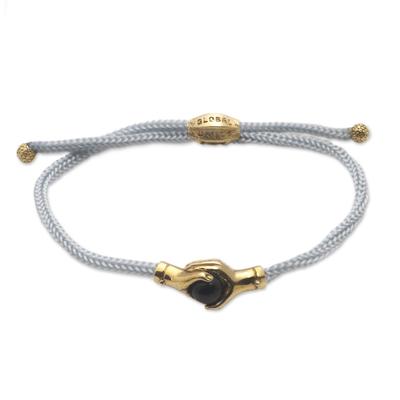 Bali Brass and Black Agate Grey Cord Unity Bracelet