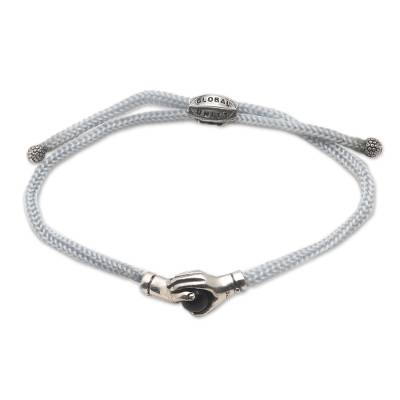 Sterling silver and black agate unity bracelet, 'Silver Grey Handshake' - Bali Black Agate & Sterling Silver Grey Cord Unity Bracelet
