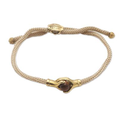 Brass and tiger's eye unity bracelet, 'Golden Handshake' - Bali Brass and Tiger's Eye Beige Cord Unity Bracelet