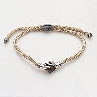 Sterling Silver and tiger's eye unity bracelet, 'Silver Beige Handshake' - Bali Tiger's Eye & Sterling Silver Beige Cord Unity Bracelet