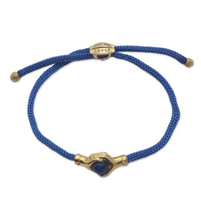 Bali Brass and Blue Agate Cord Unity Bracelet