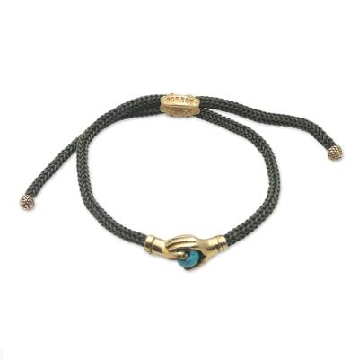 Bali Brass & Reconstituted Turquoise Cord Unity Bracelet