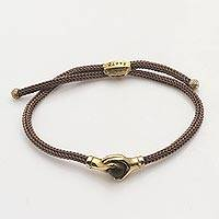 Brass and tiger's eye unity bracelet, 'Golden Brown Handshake'