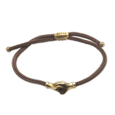 Brass and tiger's eye unity bracelet, 'Golden Brown Handshake' - Bali Brass and Tiger's Eye Brown Cord Unity Bracelet