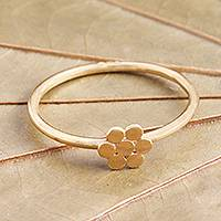Gold plated band ring, 'Flower of Gold' - Dainty Gold Plated Flower Motif Ring