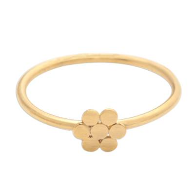 Dainty Gold Plated Flower Motif Ring