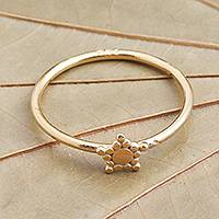 Gold plated band ring, 'Dainty Star'