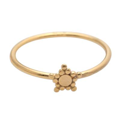 Gold plated band ring, 'Dainty Star' - Dainty Gold Plated Band Ring with Star Accent