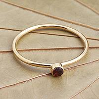 Gold plated garnet solitaire ring, 'Subtly Sweet' - Natural Garnet and 8k Gold Plate Solitaire Ring