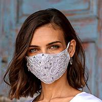 Beaded rayon lace face masks, 'Island Fashion' (set of 3) - 1 Grey-1 White-1 Grey Beaded Lace Balinese Face Masks