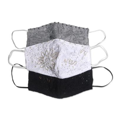 Beaded rayon lace face masks, 'Island Fashion' (set of 3) - 1 Grey-1 White-1 Grey Beaded Lace Balinese Face Masks