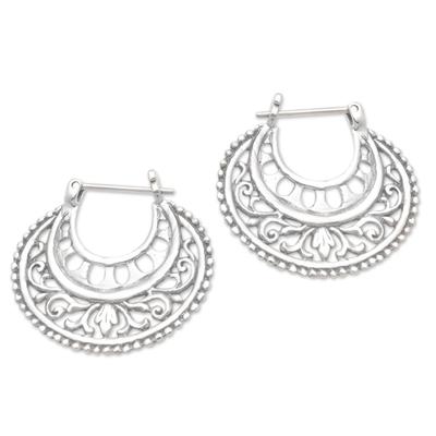 Sterling silver hoop earrings, 'Subtle Curves' - Balinese Sterling Silver Hoop Earrings