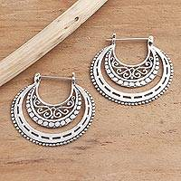 Sterling silver hoop earrings, 'Amazing Curves' - Balinese Sterling Silver Hoop Earrings