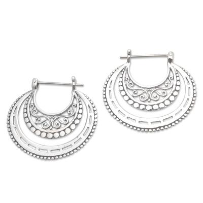 Sterling silver hoop earrings, 'Amazing Curves' - Balinese Sterling Silver Hoop Earrings