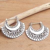 Sterling silver hoop earrings, 'Hollow Curves' - Balinese Sterling Silver Hoop Earrings