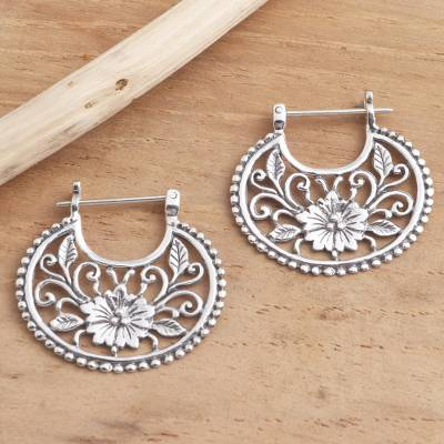 Sterling silver hoop earrings, 'Floral Curves' - Balinese Sterling Silver Hoop Earrings