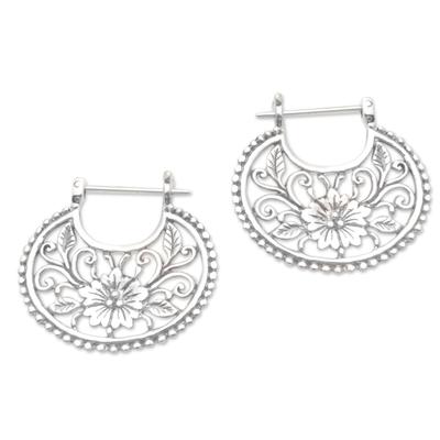 Sterling silver hoop earrings, 'Floral Curves' - Balinese Sterling Silver Hoop Earrings