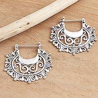 Sterling silver hoop earrings, 'Engraved Curves' - Balinese Sterling Silver Hoop Earrings