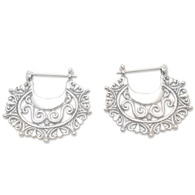 Sterling silver hoop earrings, 'Engraved Curves' - Balinese Sterling Silver Hoop Earrings