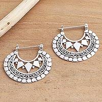 Sterling silver hoop earrings, 'Sharp Curves' - Balinese Sterling Silver Hoop Earrings