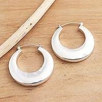 Sterling silver hoop earrings, 'Plain and Curvy' - Balinese High Polish Sterling Silver Hoop Earrings